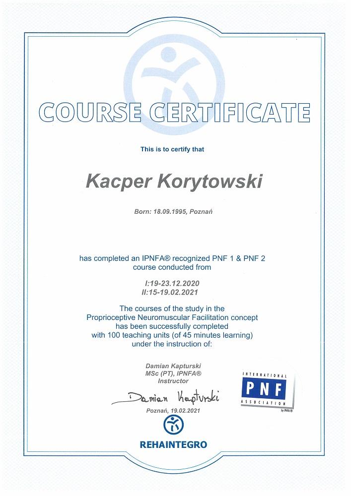 Certyfikat PNF