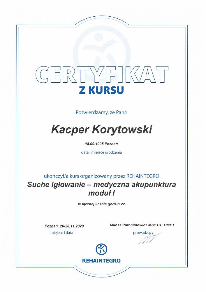 Certyfikat suche igłowanie - medyczna akupunktura