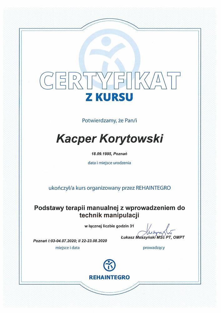Certyfikat terapia manualna